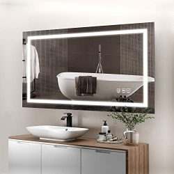 ANTEN 40×24 Inch LED Bathroom Mirror, Horizontal/Vertical Anti-Fog Bathroom Mirrors for Wall, 3000-6000K Dimmable LED Lighted Vanity Mirror