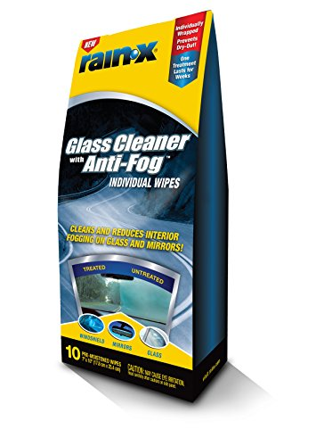 Rain-X 630040-6PK Glass Cleaner with Anti-Fog Wipes – 10 Count (Pack of 6)