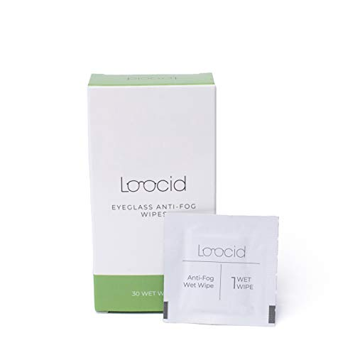 Loocid Anti Fog Wipes for Glasses (30 Count) – Lens Cleaner Wipes for Eyeglasses, Goggles, Face Shields, Cameras, Screens, Phones – Pre-Moistened and Individually Wrapped Eye Glass Cleaning Wipes Kit